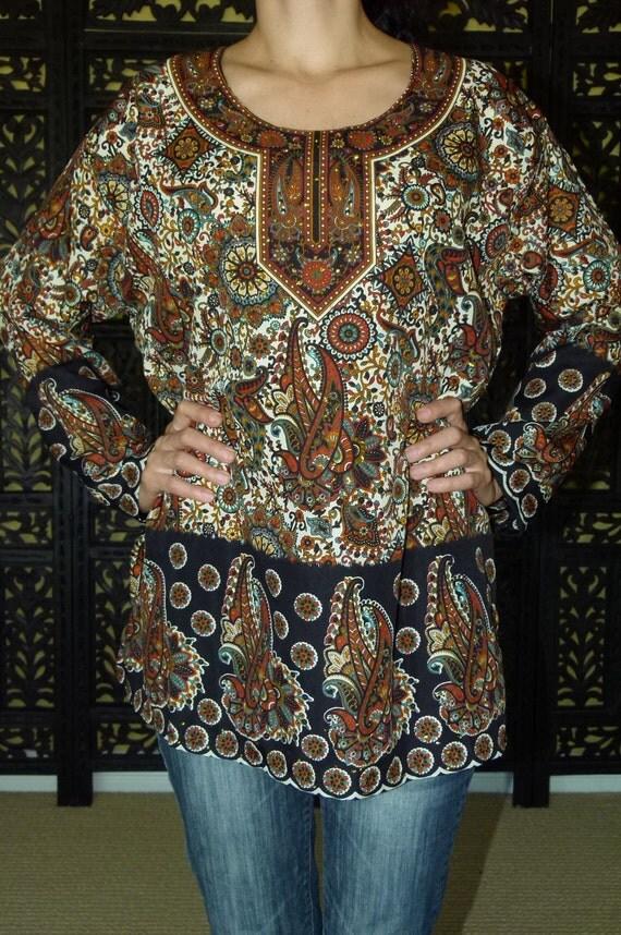 India vintage bohemian hippie paisley tunic/ top / blouse
