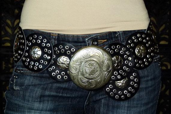 VTG 70S Moroccan Hippie Boho studded Concho Leather Belt