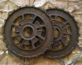 2 Vintage Primitive Cast Iron Gears, Antique Industrial Machine Age Farm Factory Metal Wheel