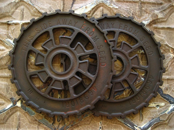 2 Vintage Primitive Cast Iron Gears, Antique Industrial Machine Age Farm Factory Metal Wheel