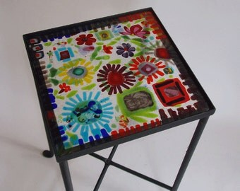 Side table with fused glass top - floral