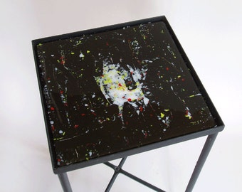 Side table with fused glass top - abstract