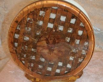 Napkin Holder Basketweave Pansy Resin