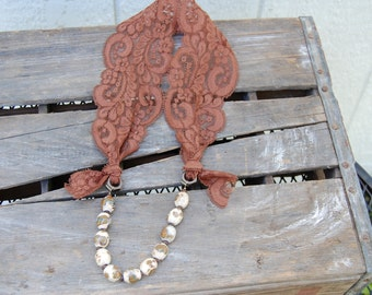 SALE! Brown lace and ceramic bead necklace, featured in Jewelry Affaire Magazine