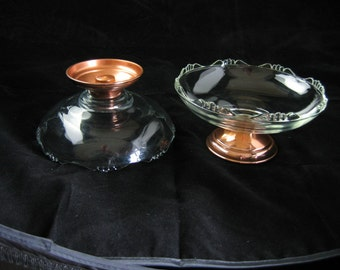 Princess House Glass (2) Candy Dishes, Bon Bon Plates, Glass With Copper Base Vintage