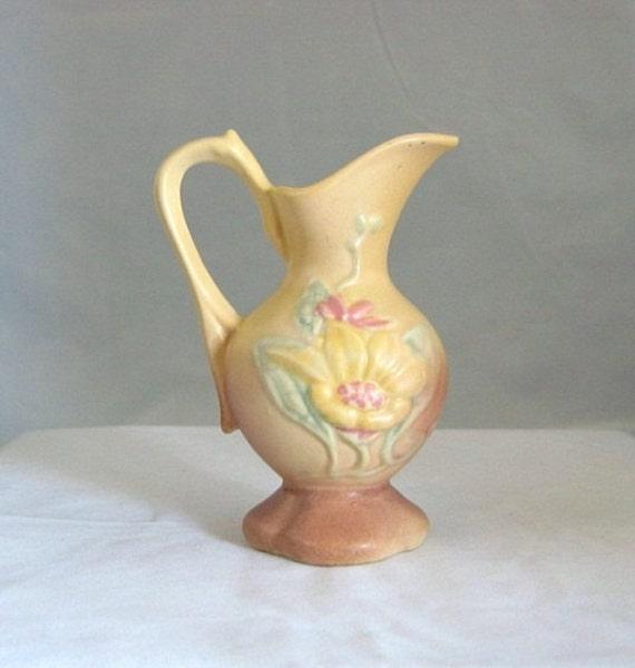 Vintage HULL POTTERY Magnolia Dusty Rose 14 - 4 3/4 EWER Vase Pitcher 1940s