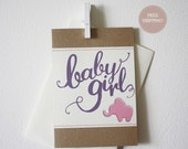 Baby Girl Elephant Stitched Greeting Card.