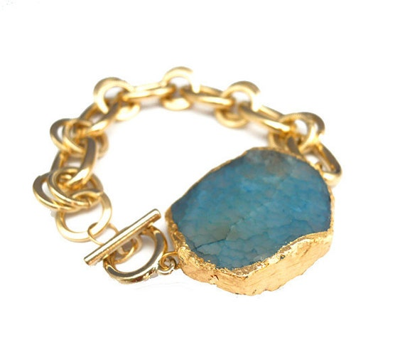 Bold Agate 14K Gold Plated Chunky Chain Bracelet