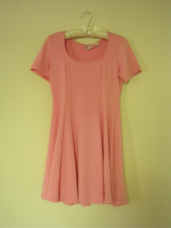 pink 1980s baby doll dress