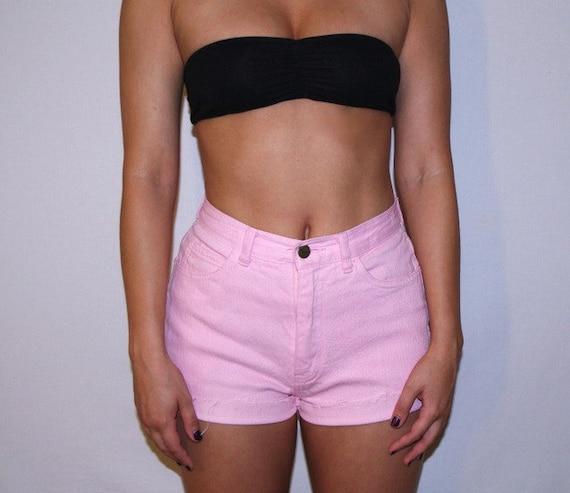 Bright Pink Vintage High Waist Traffic 80's Short Shorts