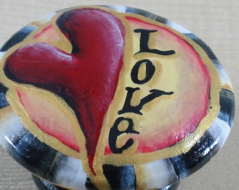 Handpainted Wooden Heart Knobs, Whimsical, Beth Baker Artist