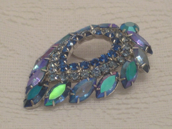 Vintage Rhinestone Brooch, Sarah Coventry 'Blue Lagoon' Designed by D&E