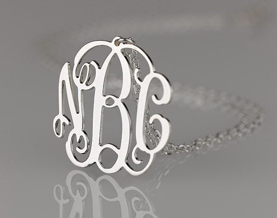 Monogram necklace - 1.5 inch Personalized Monogram - 925 Sterling silver