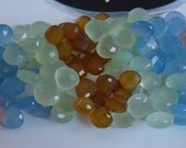 8 Inches Chalcedony Faceted Hearts Briolettes 9 to 12 mm