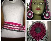 Crochet Belt / Hat/ Earrings Set