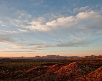 sunset over the desert, big bend national park, texas, 2009