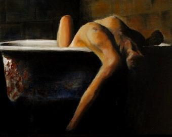"""Woman in Bath, Oil on Board, 20"""" x 16"""""""