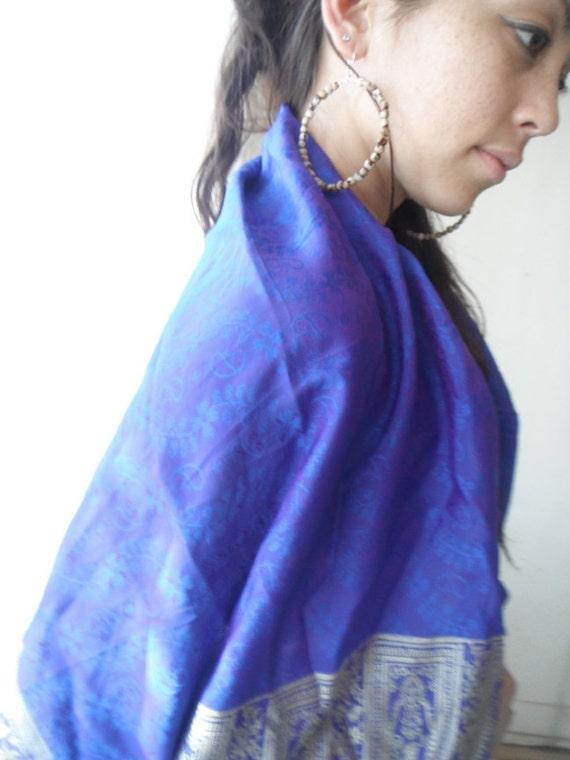 Purple silk scarf, Indian scarf, sari scarf, summer shawl, elephants