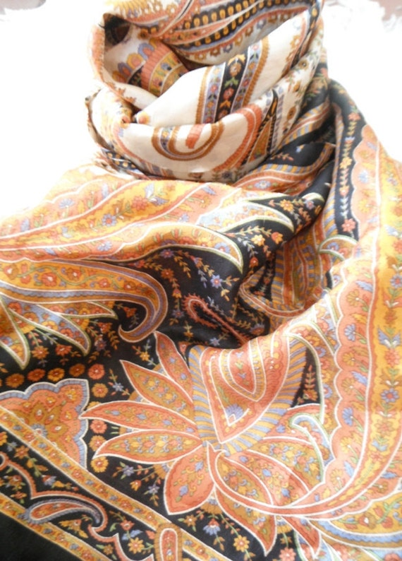 Silk Scarf Sari Scarf Paisley Scarf Black Gold Scarf Autumn colors
