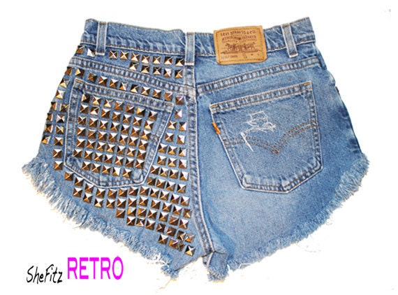 Made To Order Vintage HIgh Waisted Pyramid Back Studded Cut off Distressed Shorts