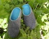 Felt Slippers Menn Unisex  Wool Home Shoes  Gray Handmade