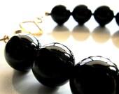 Black Onyx Gemstone Bracelet, Handmade Solid  Brass Clasp, Beaded bracelet, Beach bracelet
