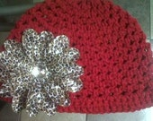 Crochet Hat with Cheetah Lily