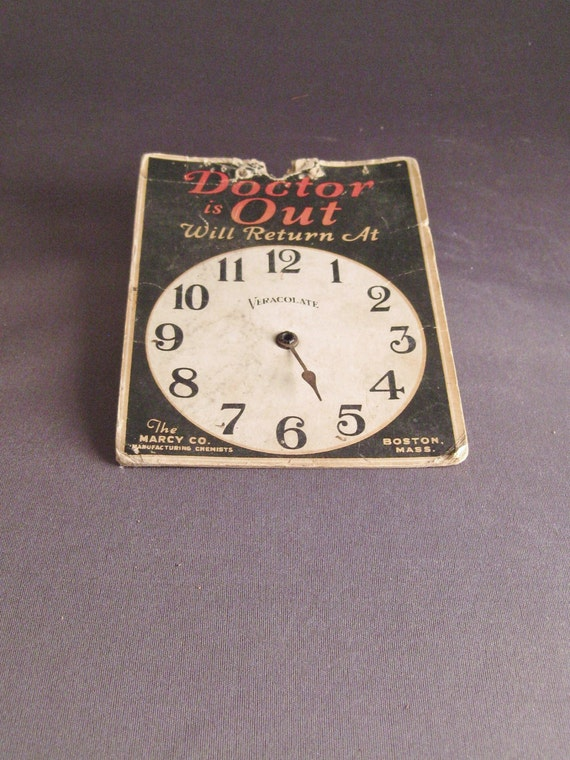 "Vintage Cardboard Sign ""Doctor Is Out"", ""Doctor Is In"""
