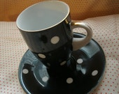 Black Polka Dot Cup & Saucer Set