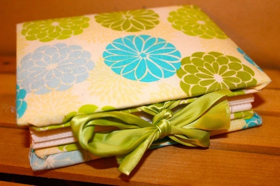 Lime Green and Teal Blue Floral Fabric Covered Photo Album - Ready to ship