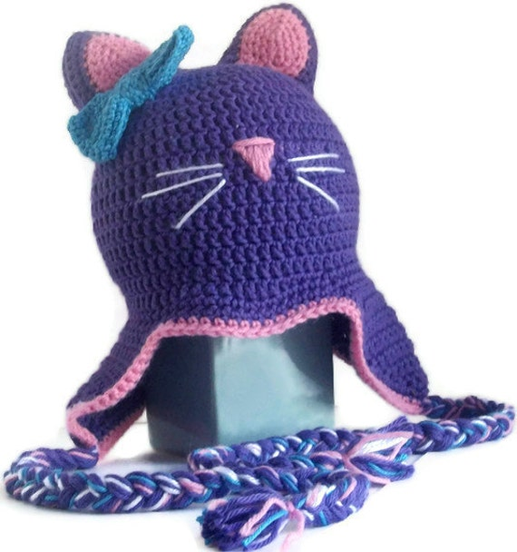 Purple Kitty Cat Hat- Ear Flap Hat- Girls and Teens- Ready to Ship