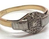 Art Deco Diamonds Ring 18 Carat Gold Platinum Wedding Bridal Artdeco Vintage Old