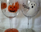 Hand Painted Halloween Jack-O-Lanterns Wine Glass Sets of 2