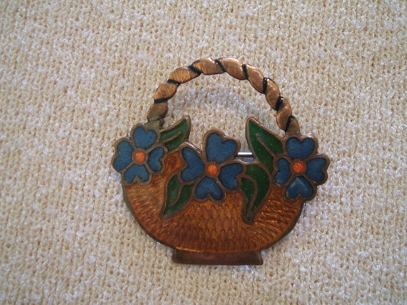 RESERVED FOR A CLIENT Vintage Signed Artesania Mexicana Enamelled Basket Brooch