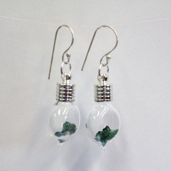 Heart Glass Bottle Earrings with 2ct Natural Uncut Emerald from Brazil 107UEMEE