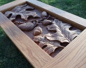 Hand Carved, Oak Leaf, Coffee Table.  One of a Kind - szuziak