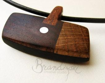 WOODEN JEWELRY - Original Handmade Wooden Necklace - black ebony, rose wood, oak, mahagony & aluminium elements, 3mm leather cord