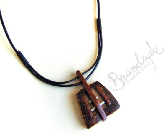Original Handmade Wooden Pendant - necklace oak and mahagon wood with aluminum and ceramic elements, with leather cord