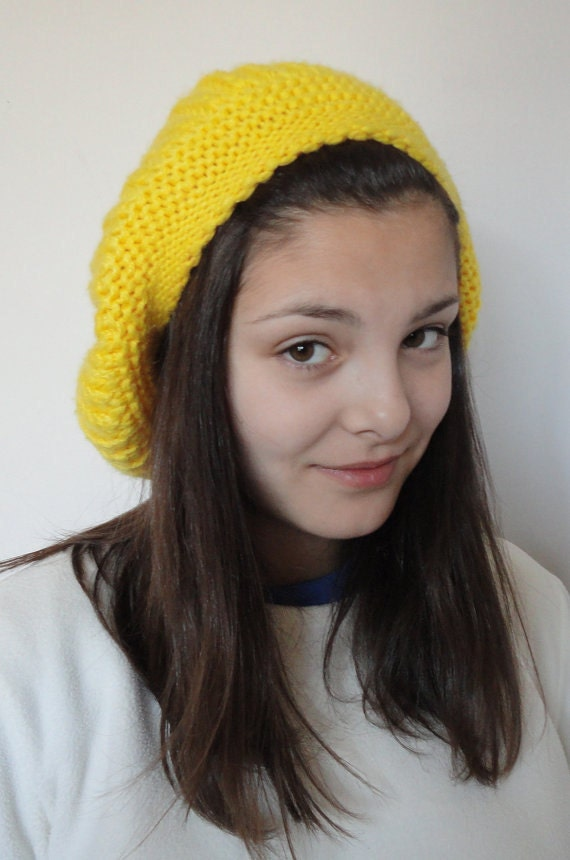 Yellow knitted hat for girl teen // Colorful hat
