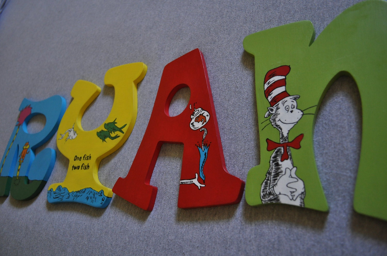 Dr. Seuss Hand Painted Wooden Letters For By CreationsbyReb. Full resolution‎  photograph, nominally Width 1500 Height 996 pixels, photograph with #7D1811.