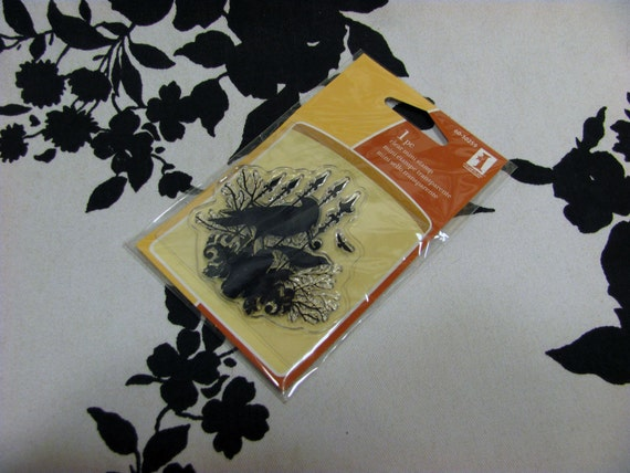 Raven Crow Wrought Iron Fence Victorian Spooky Halloween Clear Mini Stamp