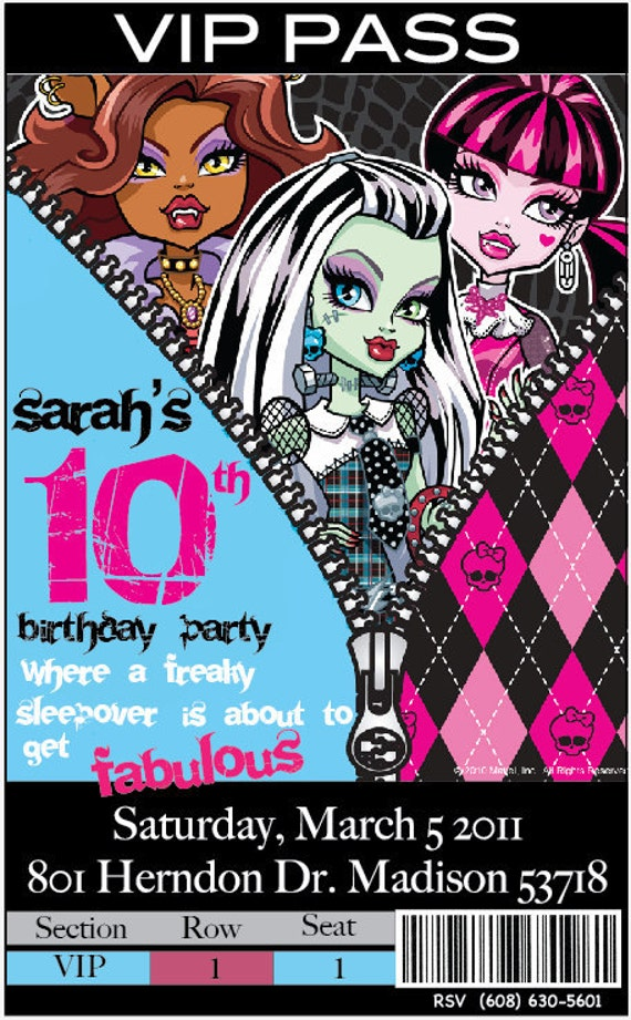 This is a picture of Crafty Free Printable Monster High Invitations