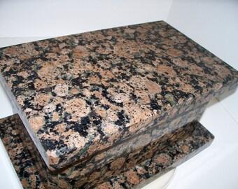 Stone Cremation Urn Handmade Wedding Box or Keepsake Box  Natural Granite Box