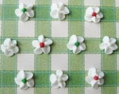 100 Royal Icing Flowers with Red, Green and White Center