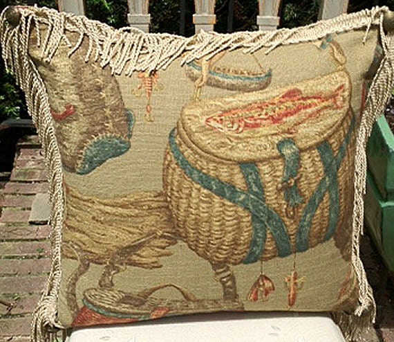 Vintage Fly Fishing Gear Pillow