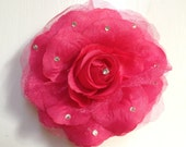 Pink Rose 4 inches with Rhinestones Flower Clip Brooch Can be Worn Alone or on a Headband
