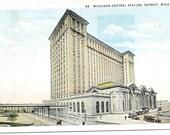2 Antique Detroit Postcards Michigan Central Station Postcard Old Train Station Detroit Postcard Vintage Detroit Postcard