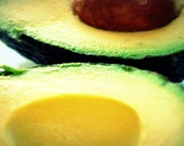 Avocado photography 5x7 fine art print green fruit yellow pit kitchen decor for the home