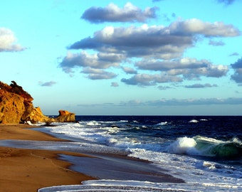 Laguna Beach photography landscape print beach decor blue skies clouds rocks waves dreamy
