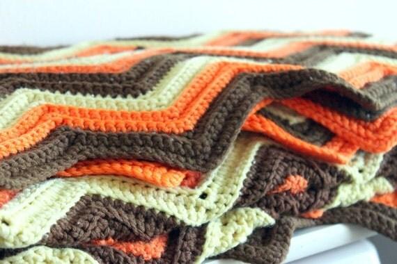 Vintage Crochet Throw Chevron Blanket Orange Brown Yellow Cream Retro Extra Long Throw